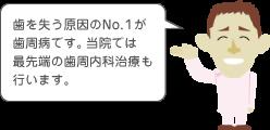 歯を失う原因のNo.1が歯周病です。当院では最先端の歯周内科治療も行います
